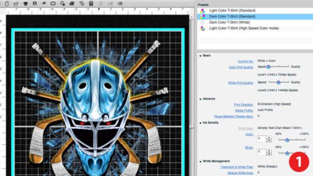 グラフィックソフトから専用のプリントソフトに印刷したいデザインを変換して印刷設定をします。